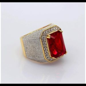 🥶💎Iced Out Red Emerald Cut Ring Gold plated🥶💎